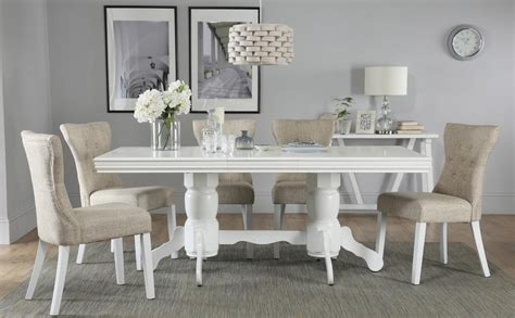 White Dining Room Table And 6 Chairs Chatsworth White Extending Dining Table With 6 Bewley Oatmeal Chairs Only 163 649 99 Furniture Choice