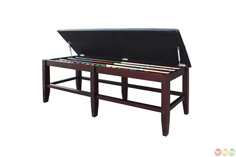 pool bench leatherette mahogony pool table storage bench