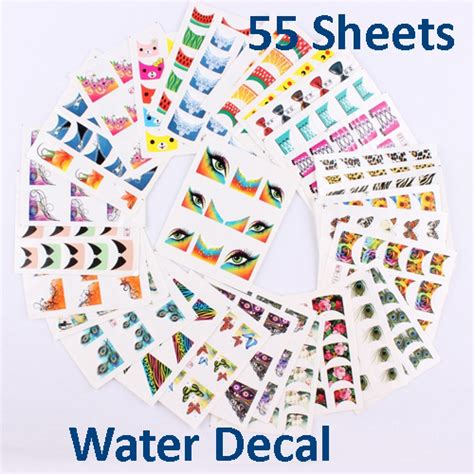 Sticker Water Decal Ble2335 55 sheets x water decals tip nail stickers mix color retail free shipping in stickers