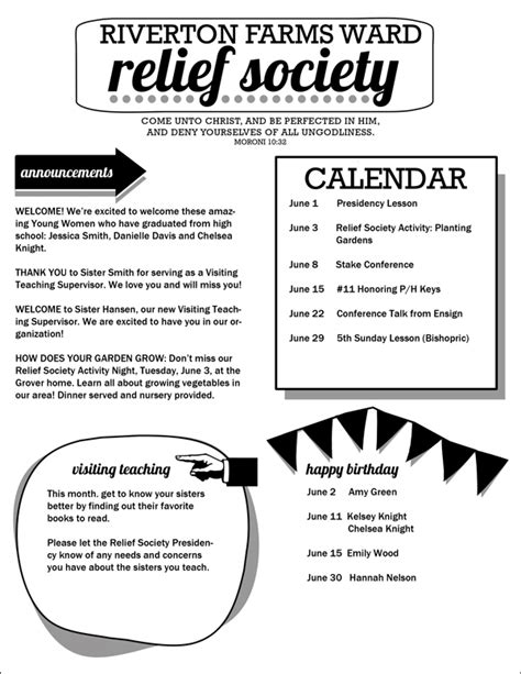 Relief Society Newsletter Template Customizable Pdf Jpeg Hang A Ribbon On The Moon Birthday Newsletter Template Free
