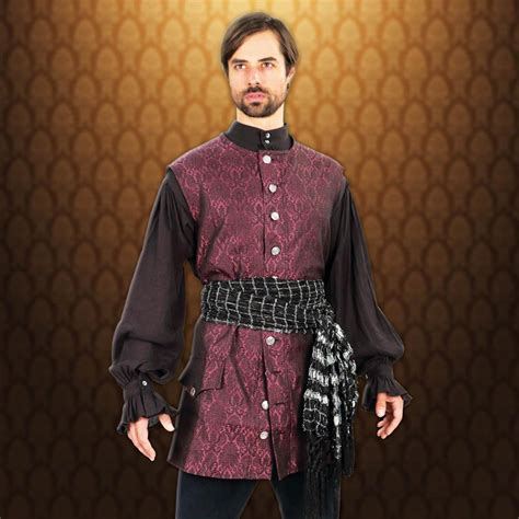 pattern black swashbuckler s shirt scoundrel long brocade pirate vest