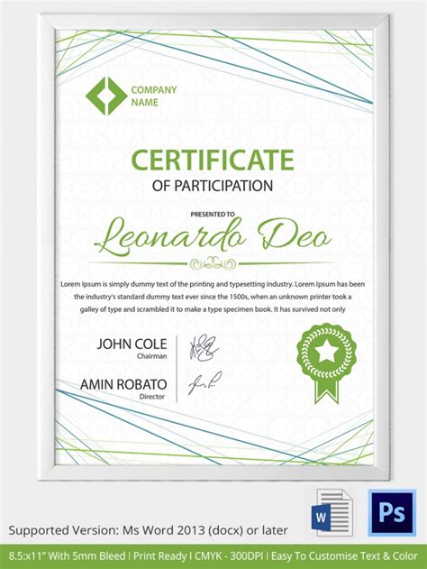 certificate of participation template pdf award certificate template 29 in pdf word