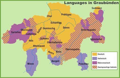 languages of switzerland map map of languages in graub 252 nden