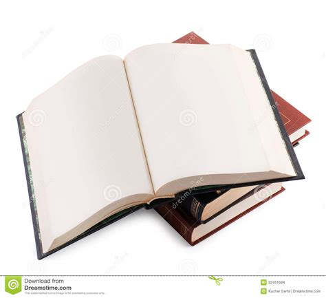 of a book open book with blank pages on a pile of books stock images