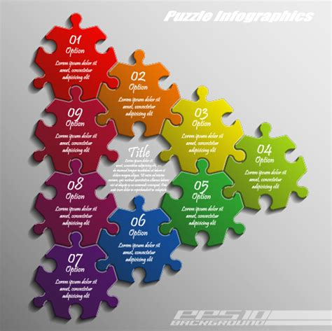 creative puzzle infographic template vector 04 over