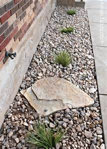 Types Of Garden Hoses - gravel around the foundation for drainage plant shrubs along to help soak up water like the