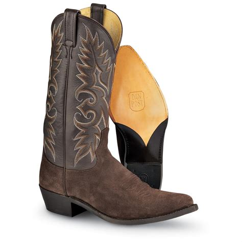 mens suede western boots s dan post 174 suede mignon western boots chocolate