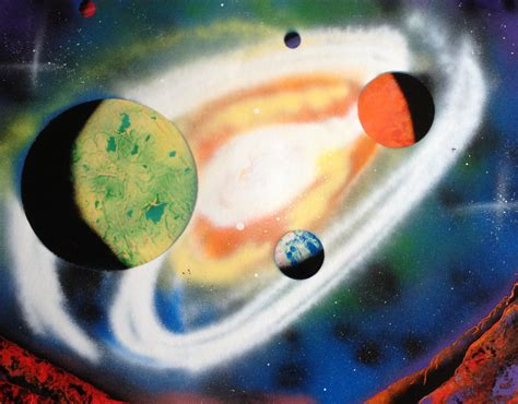 spray paint planet 22 x 28 spray paint five planets and big swirling galaxy