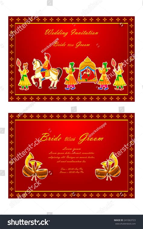 Indian Wedding Invitation Cards Vector Free by Vector Illustration Of Indian Wedding Invitation Card