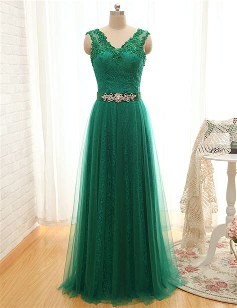 Aliexpress Buy Dress Party Evening Elegant Green Lace Long | 2016 green dress party evening elegant open back appliques