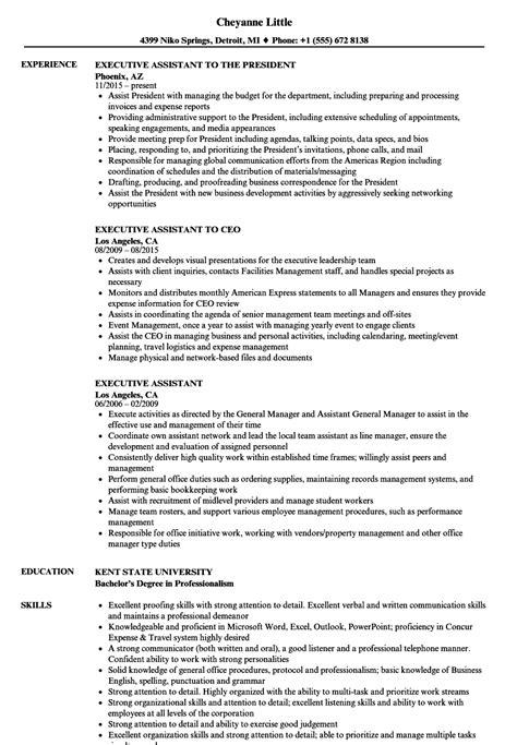 executive assistant resume sles velvet