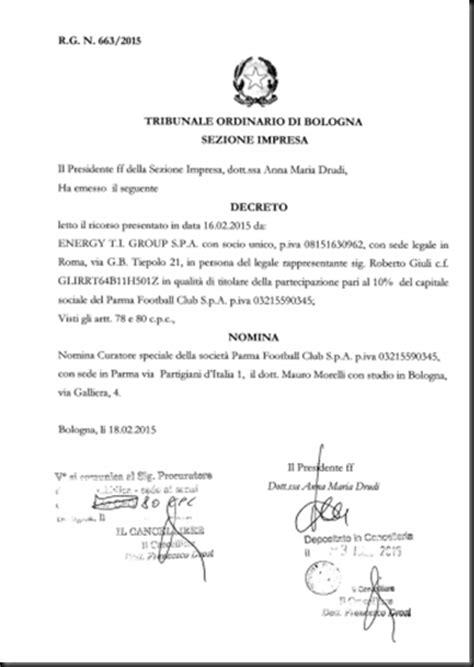 tribunale ordinario di roma ufficio successioni il tribunale ordinario di bologna sezione impresa ha