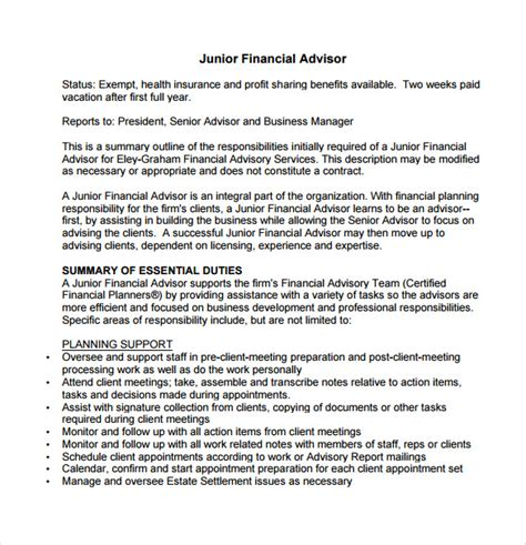 Financial Advisors Description 7 financial advisor description templates free sle exle format free