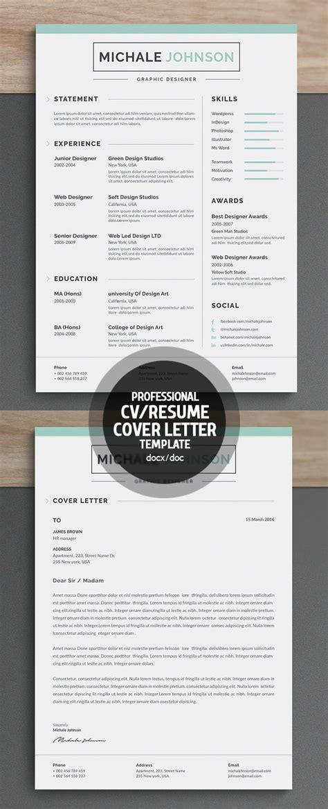 3 Cv Resume Indesign Templates Clean by New Clean Resume Templates With Cover Letter Design
