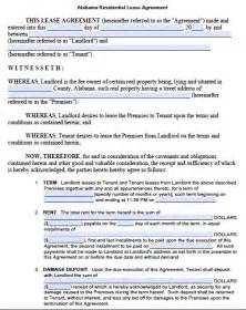 printable lease agreement template printable sle residential lease agreement template form