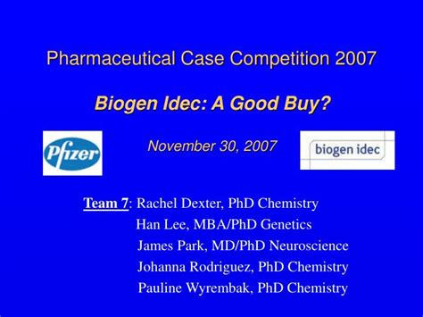 Phd Chemistry Mba by Ppt Pharmaceutical Competition 2007 Biogen Idec A
