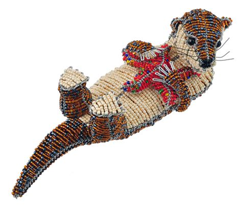 Wow Imports Beaded Wire Animal Figurine Otter