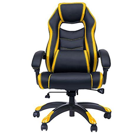Yellow Recliner Chair Merax High Back Spacious Racing Style Gaming Chair Recliner Yellow Gaming Chair Reviews And