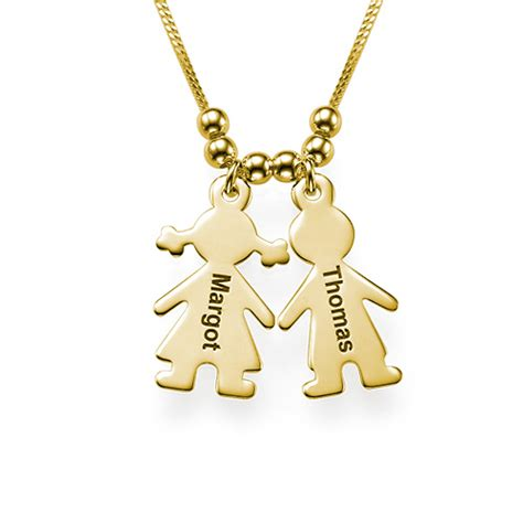 s necklace with engraved children charms