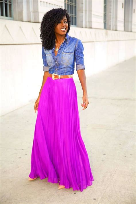 Bright Coloured Maxi Dresses - bright colored maxi skirt with denim button up my style
