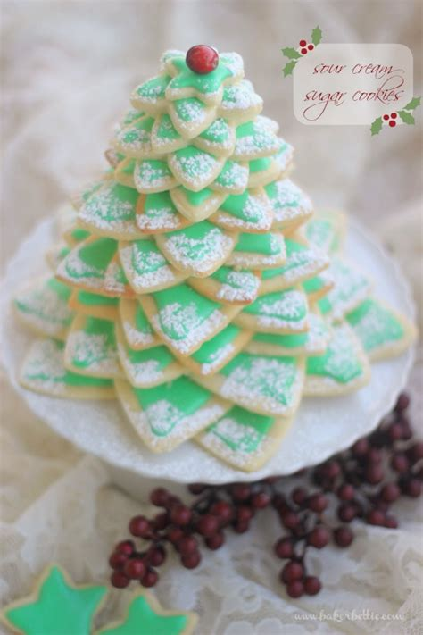 cookie christmas tree sour cream sugar cookies baker bettie