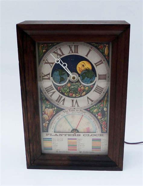 Planters Clock by Vintage Farmers Almanac Moon Wood Planters Clock