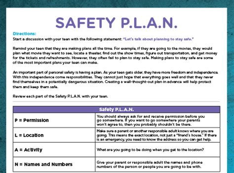 personal safety plan template family safety plan