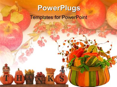powerpoint template thanksgiving theme with words give