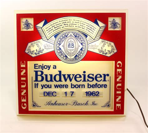 Budweiser Light Up Sign With Birth Date