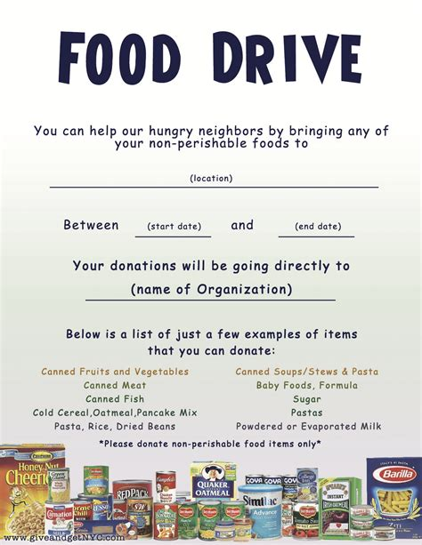 Flyers Give Get Nyc Food Drive Flyer Template Word