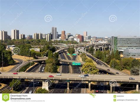 go section 8 portland oregon portland oregon skyline with freeway stock photo image