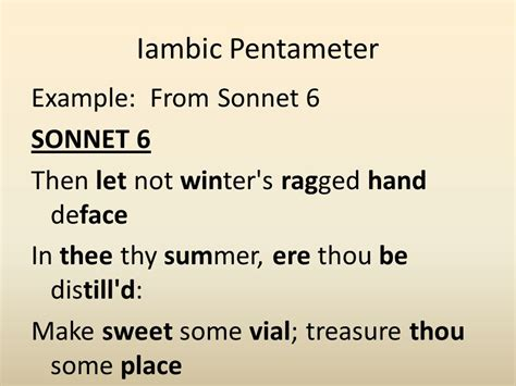 exle of iambic pentameter literary terms in poetry ppt