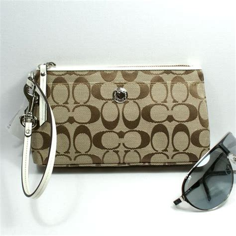 The Signature Chateau Wristlet Clutch by Coach Signature Clutch Wristlet White 42537 Coach 42537