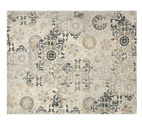 pottery barn grey rug talia printed rug gray pottery barn