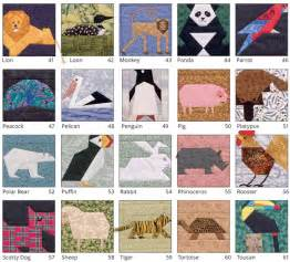 From the table of contents some of the animal quilt blocks in a