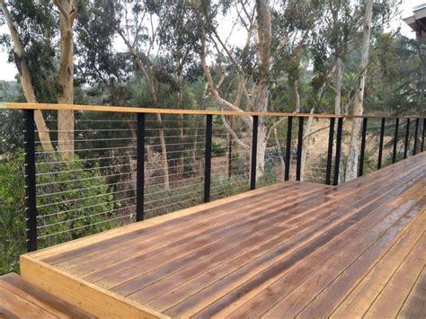 modern decks modern deck railing using cable angle iron and wood