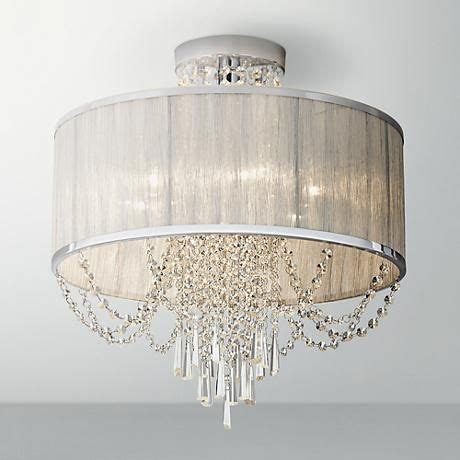 Silver Ceiling L Shades by Ellisia 19 3 4 Quot W Silver Organza Shade Chrome Ceiling Light Shades Crystals And