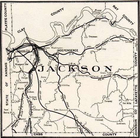 Jackson County Missouri Records Jackson County Missouri 1904 Historical Map Reprint Roads Railroads Kansas City