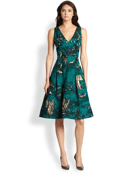 day dresses lyst oscar de la renta toile print day dress in green