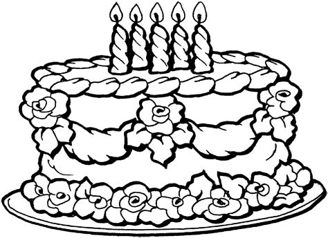 birthday cake coloring page rejeanparent  coloring