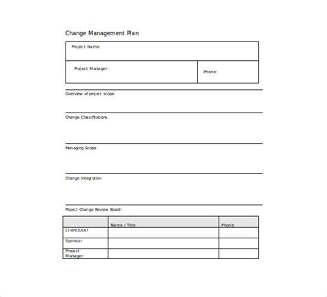 change management template free 11 change management plan templates free sle