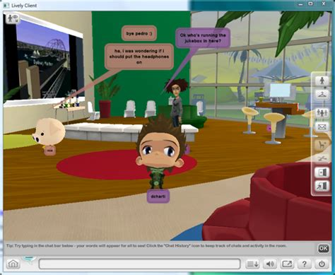 chat room with avatars on google s lively social 3d world is 20 percent
