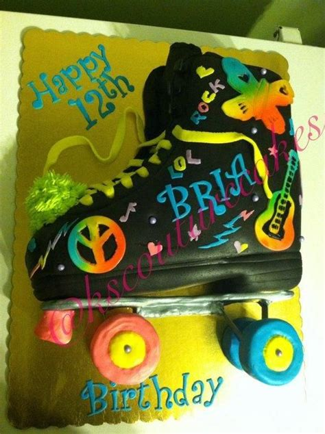 neon doodle cake ideas neon doodle inspired roller skate cake cake by k s