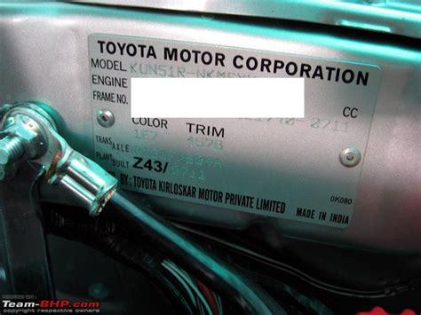 Toyota Vin Number Engine Number Location Toyota Innova