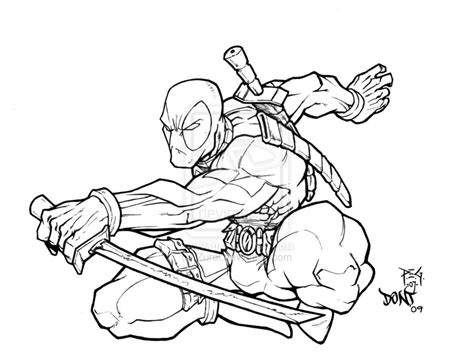 cute deadpool coloring pages deadpool inked by dontborninink on deviantart