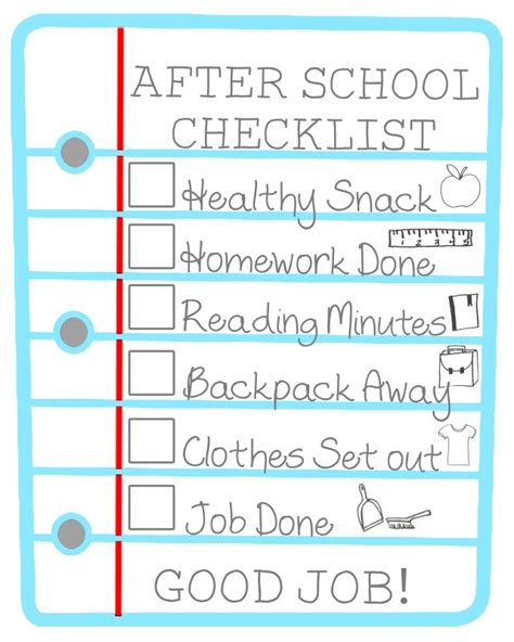 printable to do list for students after school checklist for kids free printable