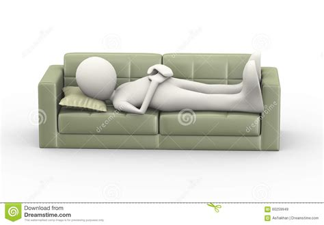 man on sofa 3d man sleeping on couch stock illustration image 60259949