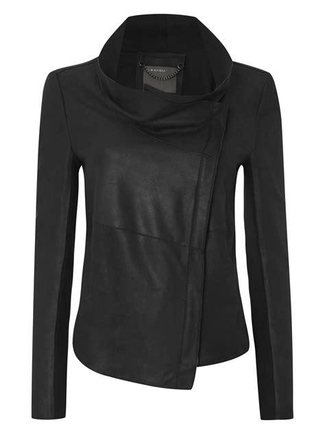 drape jacket lugano black bonded jersey leather drape jacket