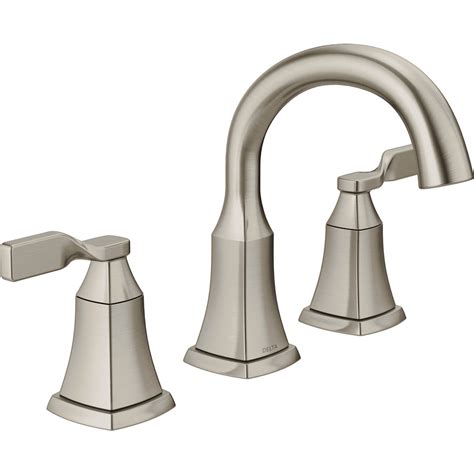 Shop Delta Sawyer Spotshield Brushed Nickel 2 handle Widespread Bathroom Sink Faucet at Lowes.com