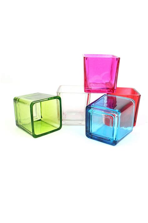 square glass tealight holders coloured glass candle